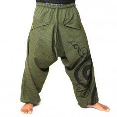Pantalón estilo Harem con diseño espiral / floral imprimir - oliva