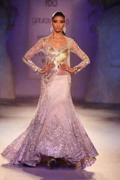 Gaurav Gupta at India Couture Week 2014 - white gold shimmering lehnga