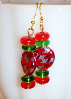 Red and Green Candy Gold Plated Earrings | evezbeadz - Jewelry on ArtFire #bmecountdown