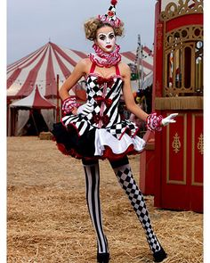 Sexy Deluxe Harlequin Clown Costume $207.  Festive Halloween Harlequin Fete Party.