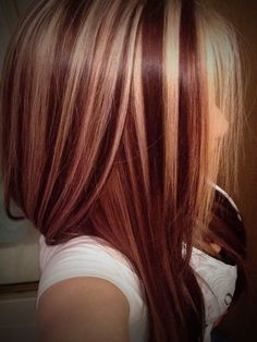 Red Hair With Blonde Highlights Dark Red Hair Color With Blonde Highlights Coloring Ideas