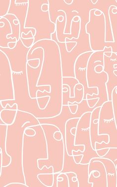 Large Dusty Pink Face Drawing Wallpaper Mural Pink wallpaper is very hot in the interior design world, and with added textures and design features they create amazing accent walls in any room of the. Bedroom Wall Collage, Photo Wall Collage, Picture Wall, Aesthetic Iphone Wallpaper, Aesthetic Wallpapers, Face Line Drawing, Pink Drawing, Drawing Eyes, Drawing Art