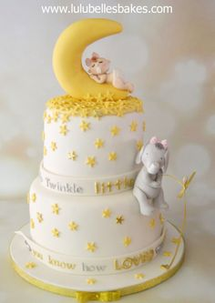 Twinkle Star baby shower cake with baby sleeping in Moon and Elephant fishing for stars