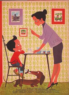 The Boy Who Wouldn't Eat his Breakfast  Illustrator/Author Elizabeth Brozowska  Wonder Book, 1963