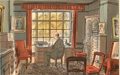 """Edward Bawden: """"The Vicar"""" illustration from 'Life in an English Village', published in 1949 by King Penguin. The drawings are of Bawden's own adopted village, Great Bardfield in Essex."""