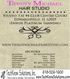 Back of Postcard for Tiffany Michael Hair Studio  #techknowsolutions