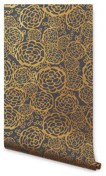 Petal Pusher Wallpaper, Gray/Gold - eclectic - wallpaper - Hygge & West