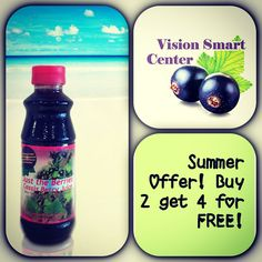 Special Summer Offer you can't miss!! Delicious blackcurrant juice! High content of VitaminC, muscle support & vision support. Call or visit our  website www.visionsmartcenter.com