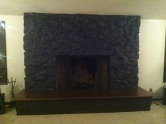 Behr S Ed Pepper Painted Over Lava Rock Fireplace Redo Remodel Ideas