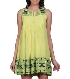 Lime Green Embroidered Georgette Short Dress