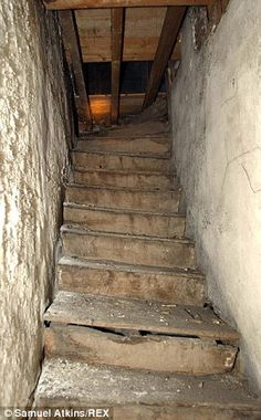 This dilapidated staircase to the attic room was the inspiration for Jane Eyre's Bertha Mason (Charlotte Bronte). Emily Bronte, Charlotte Bronte, Jane Eyre, Abandoned Buildings, Abandoned Places, Bronte Sisters, Old Movie Posters, The Book Thief, Wuthering Heights