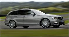 Family estate car with a twist. One of the best sounding cars ever made. 478bhp of smooth, urgent, big-bore V8 muscle, and the brakes and handling to back it up. Best served with a bewildered dog in the back, de-badged. Mercedes C63 AMG estate with the AMG Performance Package.