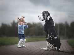 22 fotos de cachorros gigantes brincando com crianças pequenas.