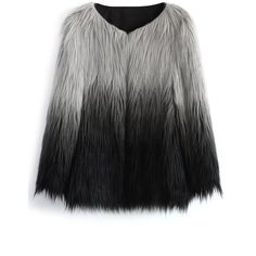 Chicwish Super Star Dip Dyed Faux Fur Coat (18.640 HUF) ❤ liked on Polyvore featuring outerwear, coats, jackets, coats & jackets, grey, grey faux fur coat, fake fur lined coats, faux fur coats, long drape coat and fake fur coats