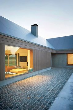 Gallery of House V at R / BURO II & ARCHI+I – 2 Floor-to-ceiling windows with a view of the living room Residential Architecture, Contemporary Architecture, Architecture Design, Vernacular Architecture, Modern Barn House, Design Exterior, Exterior Colors, House Extensions, Building A House