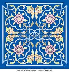 oriental ottoman design one colored - csp18228426