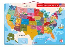 This USA Map 60piece kids puzzle by Masterpieces is an interactive
