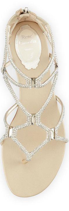 Rene Caovilla Crystal Strappy Sandal, Silver