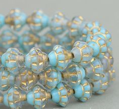 Saturn Beads - Saucer Beads - Czech Glass Beads -  Turquoise, Blue and Topaz Mix Transparent with Gold Wash - 6mm #SolanaKaiBeads #CzechGlassBeads @SolanaKaiBeads