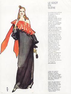 Christian Dior (Couture) 1981 René Gruau, Evening Gown, Marc Bohan