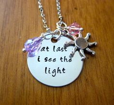 """Tangled Inspired Rapunzel Necklace. """"At last I see the light"""".  Swarovski Elements Crystals. Hand Stamped. by WithLoveFromOC (item: 20158171731)"""