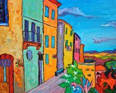 "Daily Paintworks - ""Tuscan Village"" - Original Fine Art for Sale - © Liz Zornes"