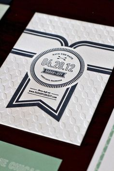Modern Letterpress Wedding Invitations Kate Holgate Save the Date 300x450 Sarah + Jeffs Modern Wedding Invitations and Save the Dates