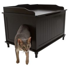 Bench-shaped litter box enclosure with beadboard panels.    Product: Litter box enclosureConstruction Material: Woo...