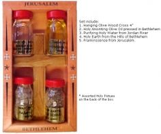 Holy Water, Holy Oil, Frankincense & Holy Earth with Cross. Made in Bethlehem. Experience the Holy Land and Divine Strength of Our Lord! www.HolyLandNetwork.com