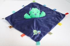 Taggies Security Blanket Blue Green Monster plush satin tags Baby Rattle soft  #Taggies