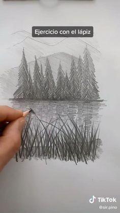 3d Art Drawing, Art Drawings For Kids, Art Drawings Sketches Simple, Pencil Art Drawings, Drawing Landscapes Pencil, Nature Sketches Pencil, Art Drawings Beautiful, Diy Canvas Art, Art Lessons