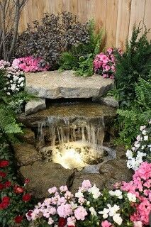 Perfect small garden waterfall and pond . - Perfect small garden waterfall and pond - Outdoor Water Features, Water Features In The Garden, Small Water Features, Backyard Water Feature, Ponds Backyard, Backyard Ideas, Pond Ideas, Koi Ponds, Patio Ideas
