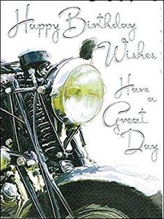 "Male Birthday Card - Black Motorbike 7.25"" x 5.5"" Code V211"