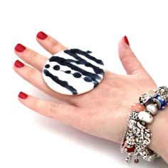 Ceramic Statement Ring  - big bold oversized handmade cocktail ring - ABSTRACT ART - 2.4 inch
