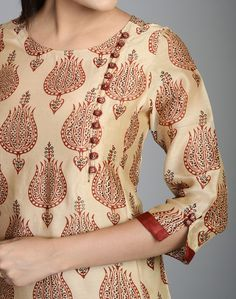 Silk Cotton Printed Awadh Neck Long Kurta Salwar Neck Designs, Churidar Designs, Kurta Neck Design, Neck Designs For Suits, Sleeves Designs For Dresses, Dress Neck Designs, Sleeve Designs, Blouse Designs, Salwar Pattern