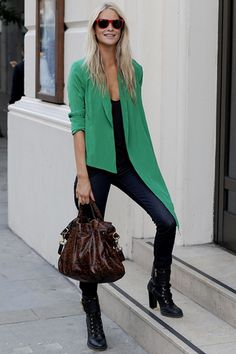 cool casual. love the green jacket.
