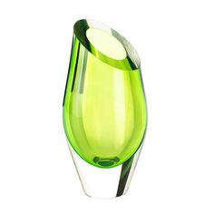 Angled Green Glass Vase, Clear