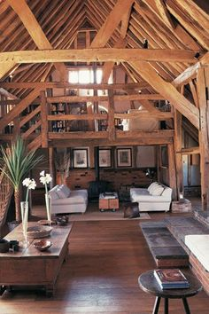 small, but open. wood beams and floors.