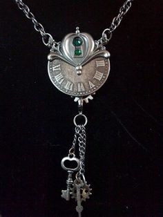 Steampunk Clock and Key Hole Necklace  Emerald by KreationsByKimH, $16.00