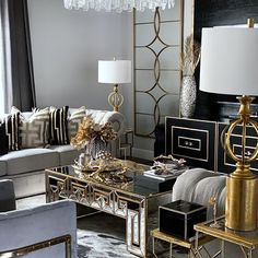 Good morning my loves! It's almost the weekend 🤸🏻‍♂️🤸🏻‍♂️🤸🏻‍♂️ so so exciting! I wanted to show you the whole reveal of my clients… Living Room Themes, Glam Living Room, Living Room Lounge, Luxury Dining Room, Elegant Living Room, Formal Living Rooms, Living Room Designs, Home Design Decor, Interior Design