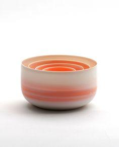 "Inhwa Lee ""Shadowed Color - Bowl set"" Porcelain, Pigment, Marbling, Wheel throwing, 1280℃ Oxidation Firing, Polishing"
