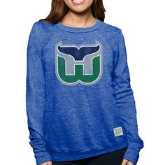 Hartford Whalers Original Retro Brand Women's Vintage Tri-Blend Pullover Sweatshirt - Royal - $54.99