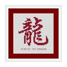 Year of the Dragon, Chinese Zodiac Cross Stitch Chart