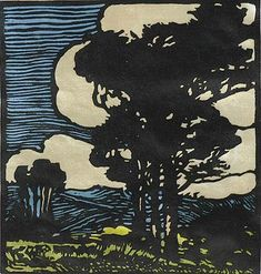 Windswept - William S. Rice - c. 1920, block print