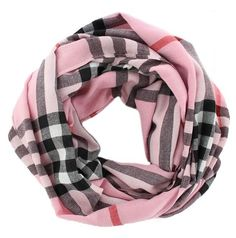 Classic Pink Infinity Loop #Plaid #Cashmere Check Wrap Cowl Scarf.