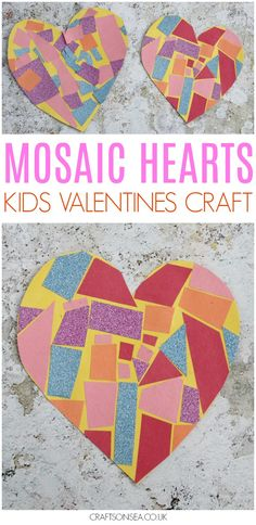 This easy mosaic heart craft is perfect for toddlers and preschoolers and makes a super pretty Valentines Day craft for kids! Practice scissor skills with this sweet Valentines Day activity that would great on a card or as a garland.