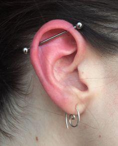 industrial Fresh industrial piercing by ! Fresh industrial piercing by ! Ear Jewelry, Body Jewelry, Diamond Jewelry, Jewellery, Safety Pin Earrings, Stud Earrings, Scaffolding Piercing, Industrial Piercing Jewelry, Cute Ear Piercings