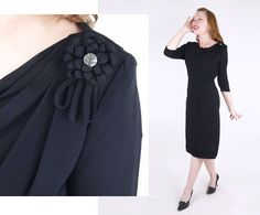 50s Black Rayon Sheath Dress with Draped Neckline and Flower Bow L