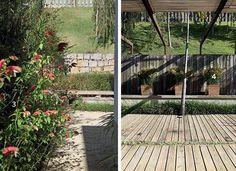 Feitos para o frio - Para ir direto ao jardim, basta seguir as brácteas avermelhadas do camarão-vermelho (3) que enchem o corredor lateral. Na foto à dir., em frente à sala, a pérgola com estrutura de aço oxidado termina em um espelho d'água com papiros (4) em vasos imersos. Ao acionar as bicas, a água escorre por eles. Vale saber: o forro de bambu se desloca ao longo da pérgola. (Foto: Renato Corradi) (Foto: Renato Corradi)