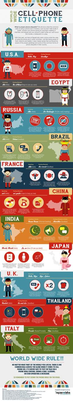 Cell Phone Ettiquette Around The World [Infographic] - http://www.bestinfographics.co/cell-phone-ettiquette-around-the-world-infographic/